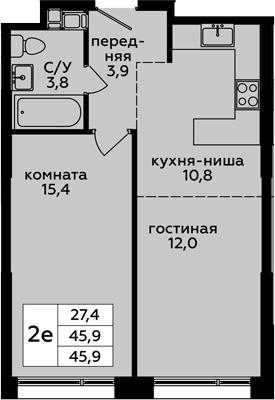 2-к.кв (евро), 45.9 м²