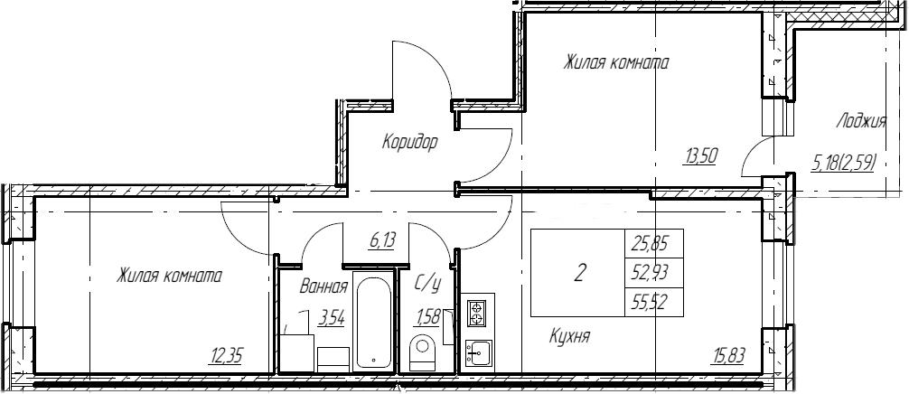 3Е-комнатная, 55.52 м²– 2