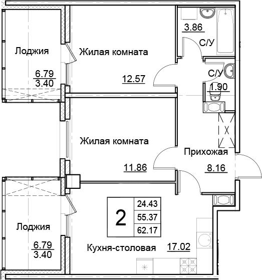 3-к.кв (евро), 68.97 м²