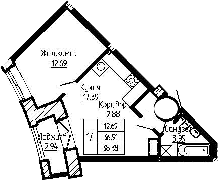 2-к.кв (евро), 39.85 м²