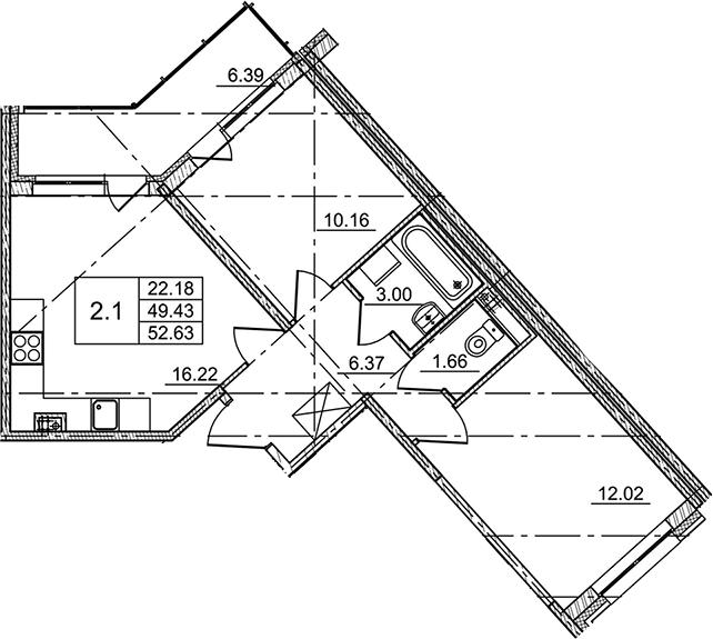 3Е-комнатная, 52.63 м²– 2