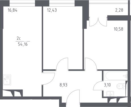 3Е-комнатная, 54.16 м²– 2