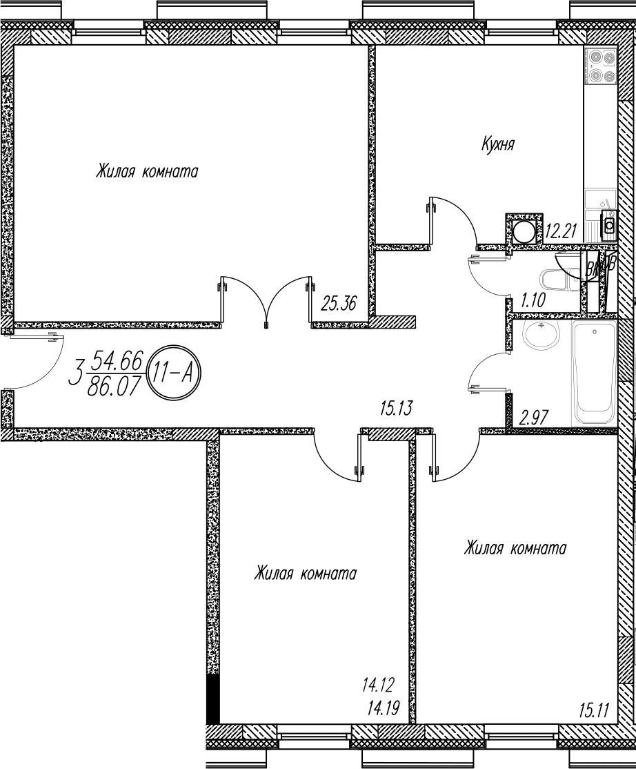 3-к.кв, 86.07 м²