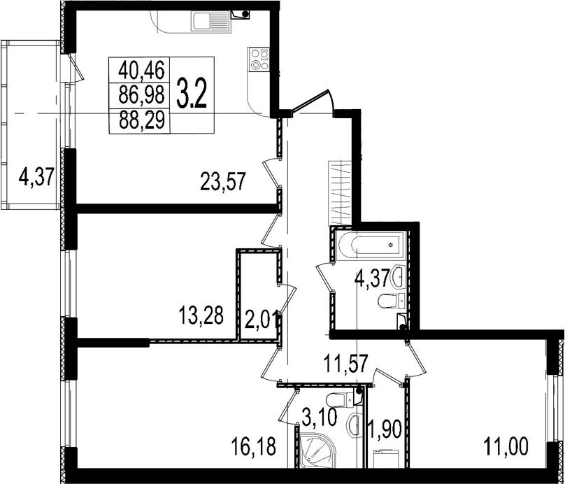 4-к.кв (евро), 91.35 м²