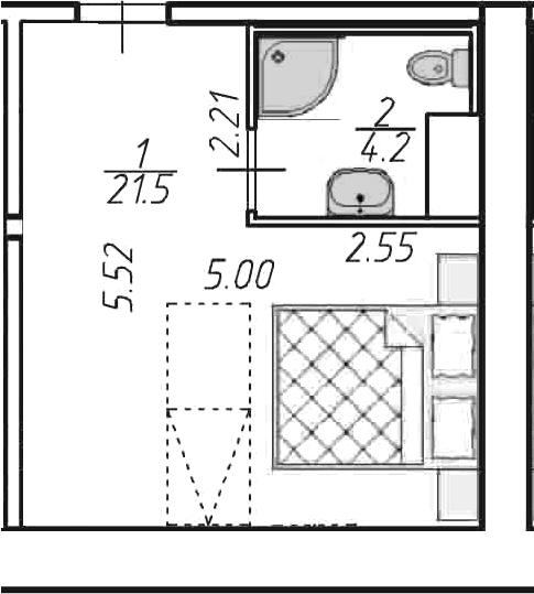 Студия, 25.7 м²– 2