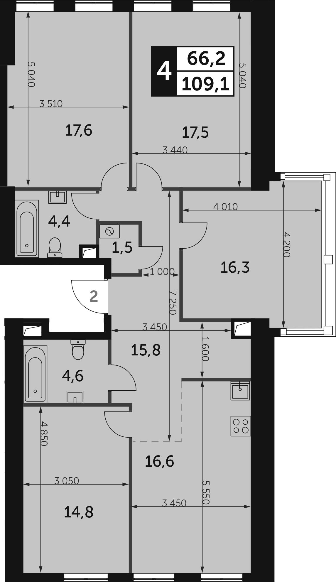 4-к.кв, 109.1 м², 28 этаж