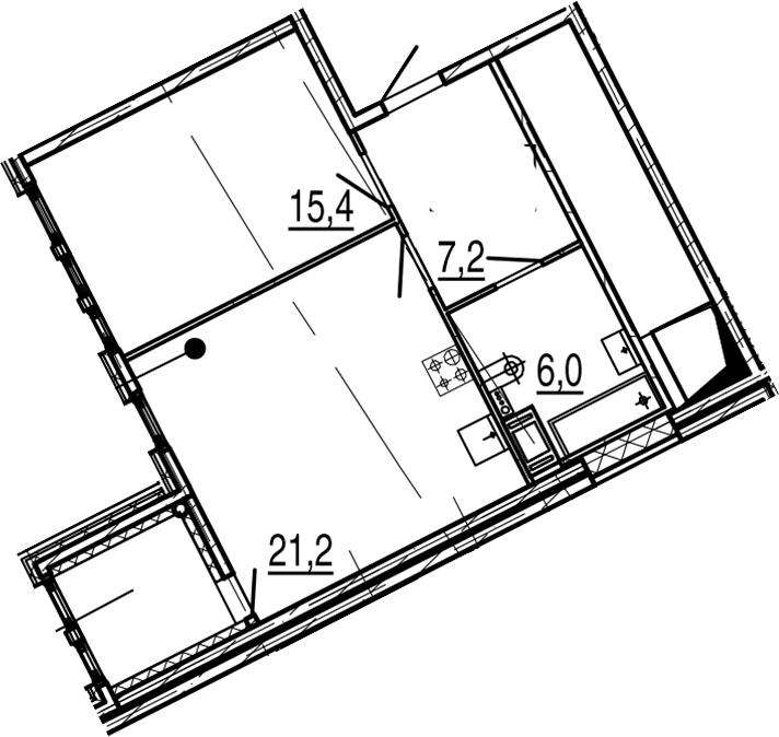 2Е-к.кв, 51.9 м², 8 этаж