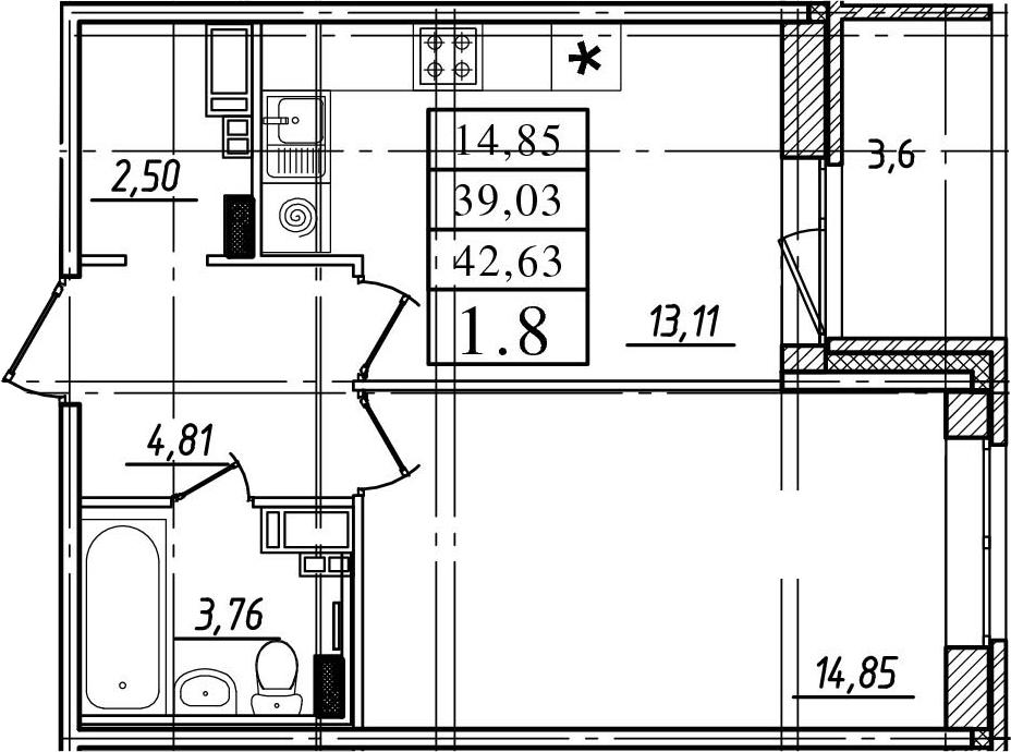 1-к.кв, 39.03 м²