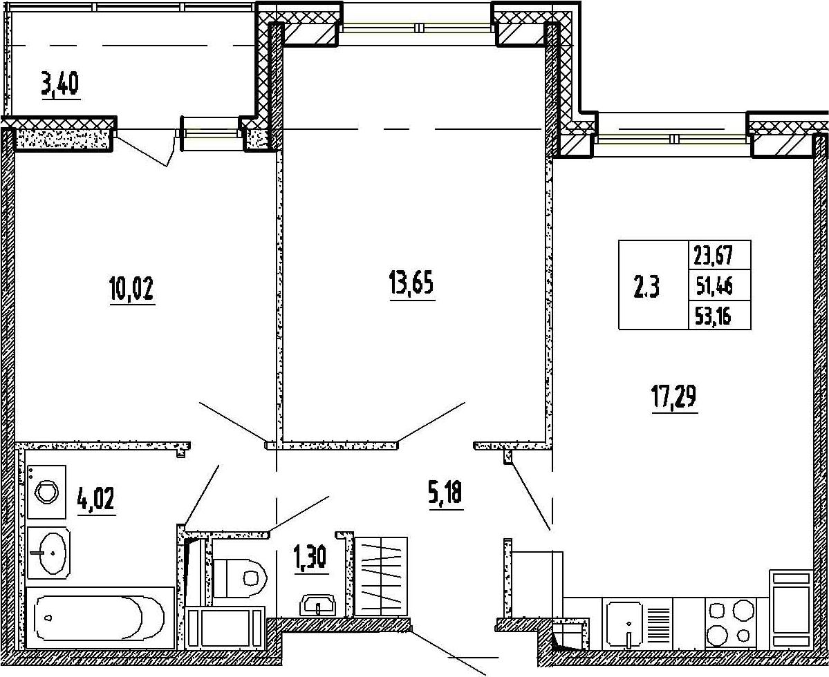 3Е-к.кв, 51.46 м², 7 этаж