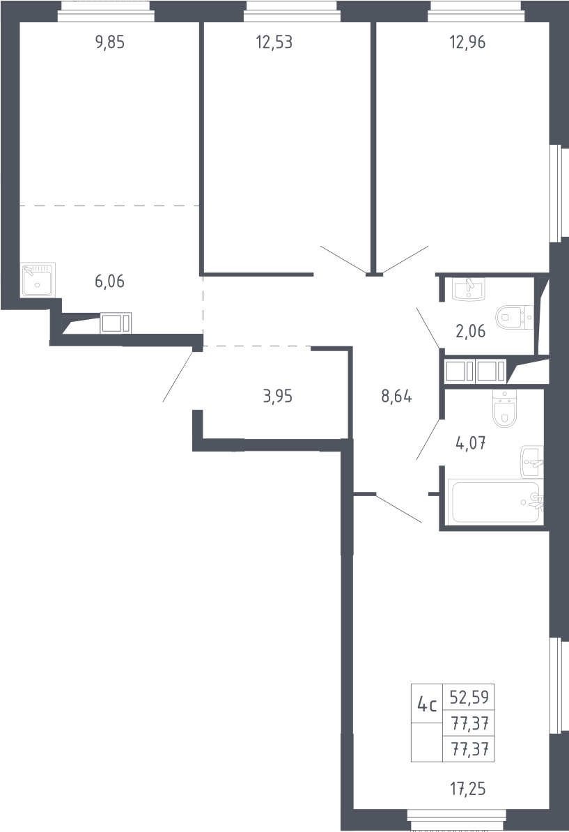 4Е-к.кв, 77.37 м²