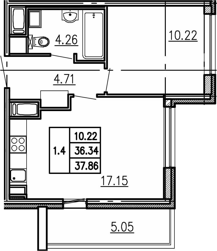 2Е-комнатная, 36.34 м²– 2