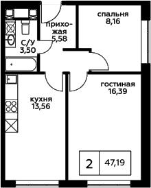 2-к.кв, 47.19 м²