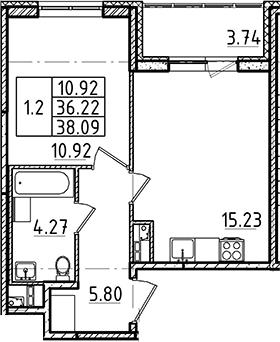 2Е-комнатная, 38.09 м²– 2