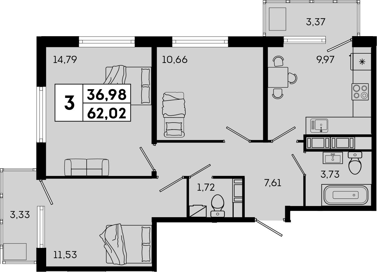 3-к.кв, 62.02 м²