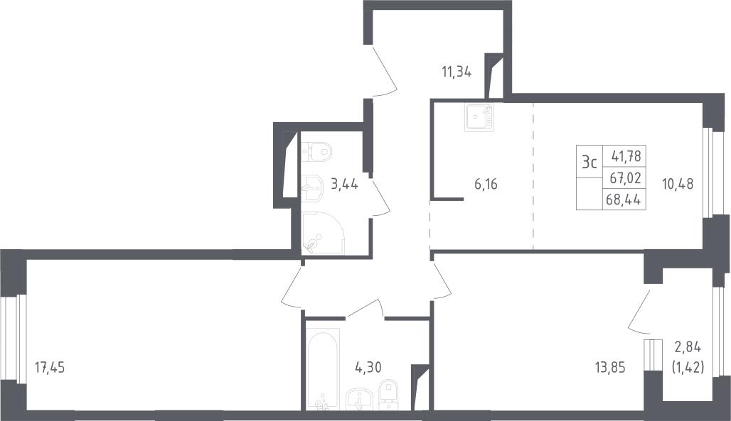3Е-к.кв, 68.44 м²