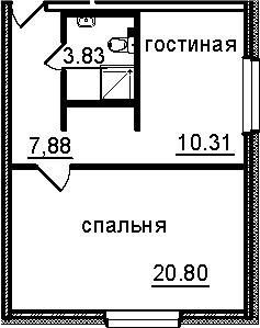 1-к.кв, 42.82 м², 3 этаж