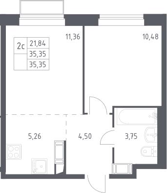 2Е-к.кв, 35.35 м², 15 этаж