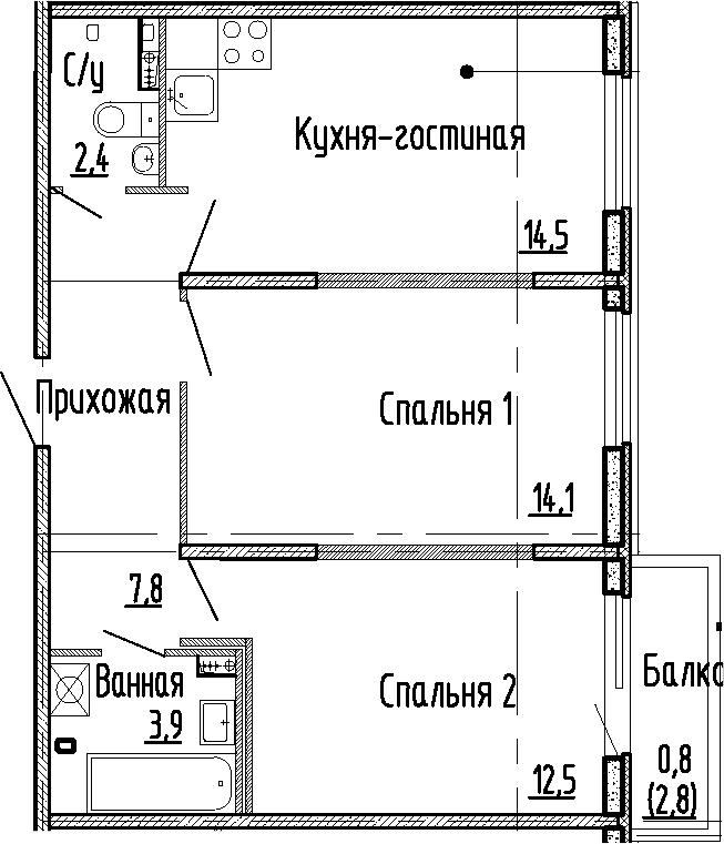 2-комнатная квартира, 55.2 м², 1 этаж – Планировка