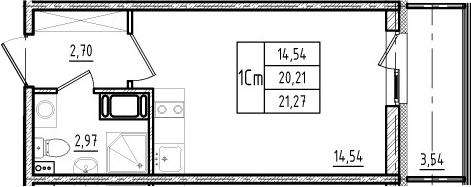 Студия, 20.21 м², 8 этаж
