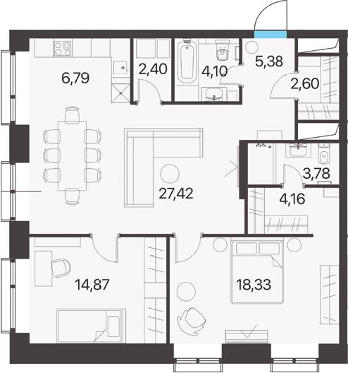 3Е-к.кв, 89.83 м², 11 этаж