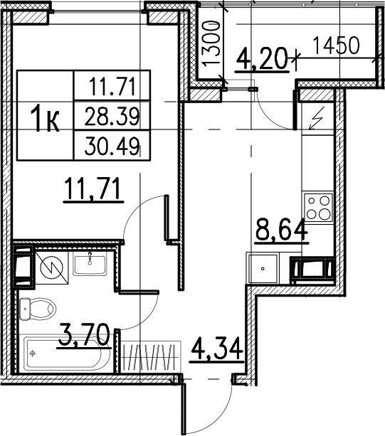1-комнатная, 30.49 м²– 2