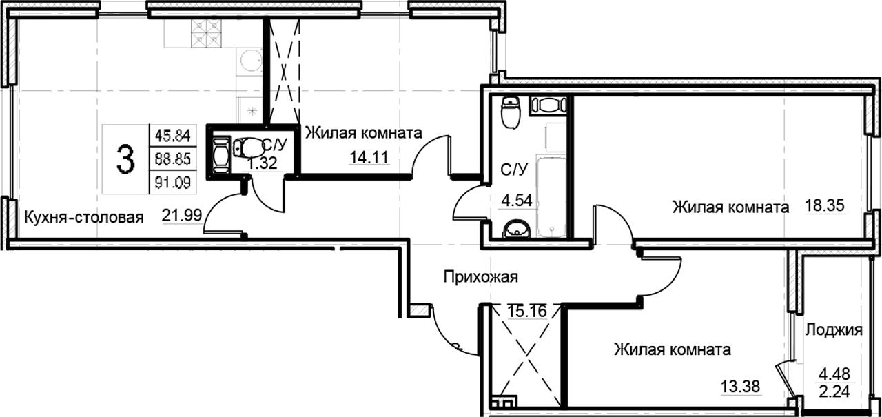 4-к.кв (евро), 93.33 м²