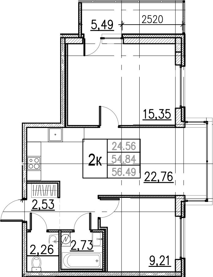 3Е-комнатная, 56.49 м²– 2