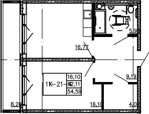 2Е-к.кв, 54.59 м²