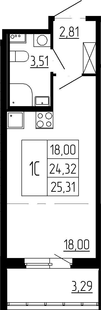 Студия, 27.61 м²