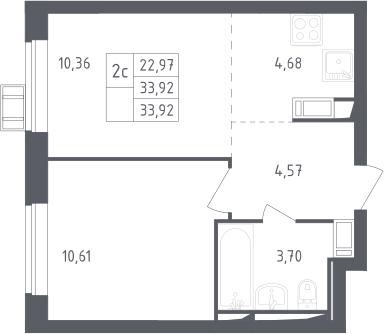 2Е-комнатная, 33.92 м²– 2