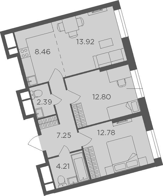3Е-комнатная, 61.81 м²– 2