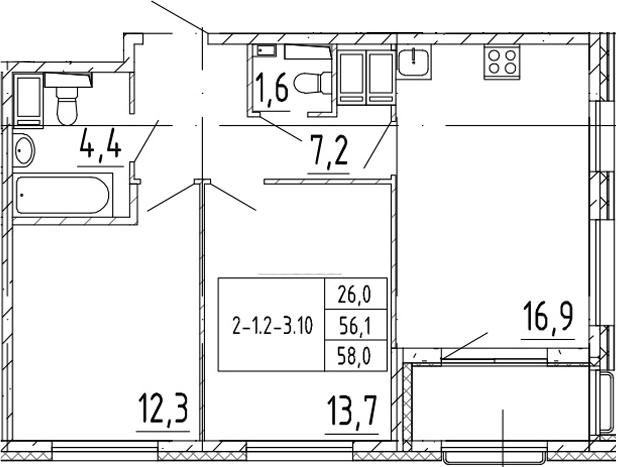 3Е-к.кв, 58 м²