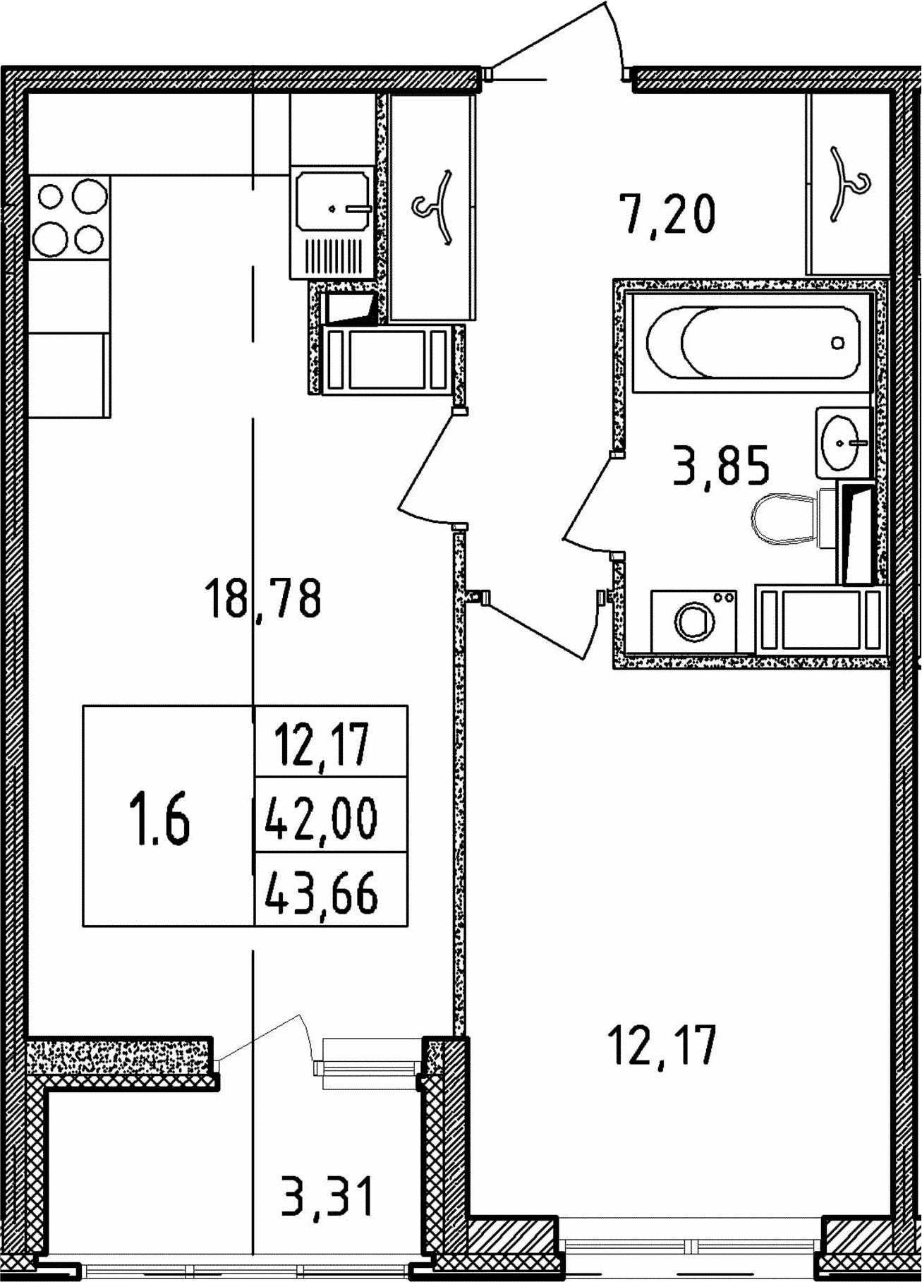 2Е-к.кв, 42 м²