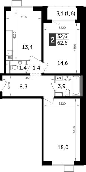 2-комнатная, 62.6 м²– 2
