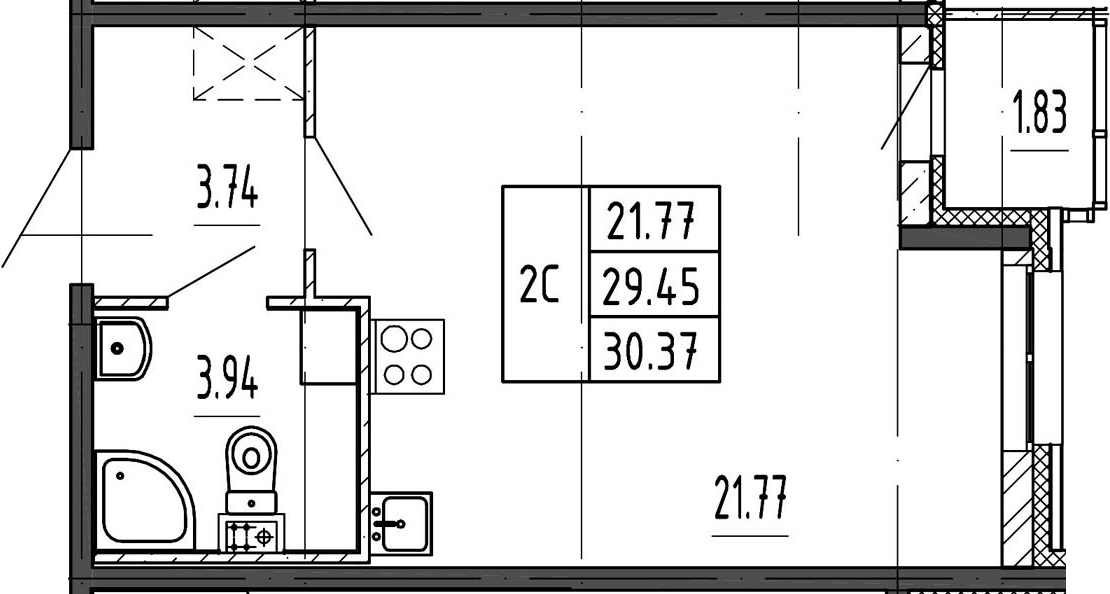Студия, 31.28 м²