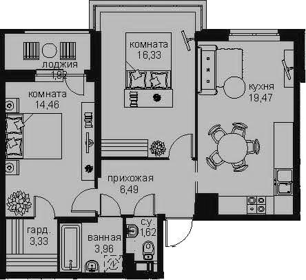 3Е-комнатная, 67.58 м²– 2