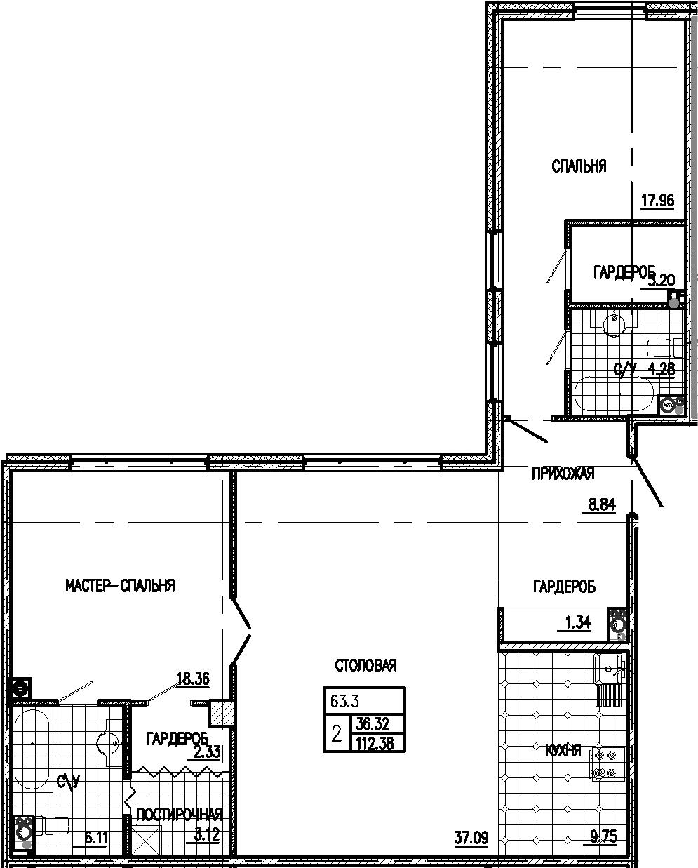 3Е-к.кв, 112.38 м²