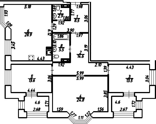 3-к.кв, 116.62 м²