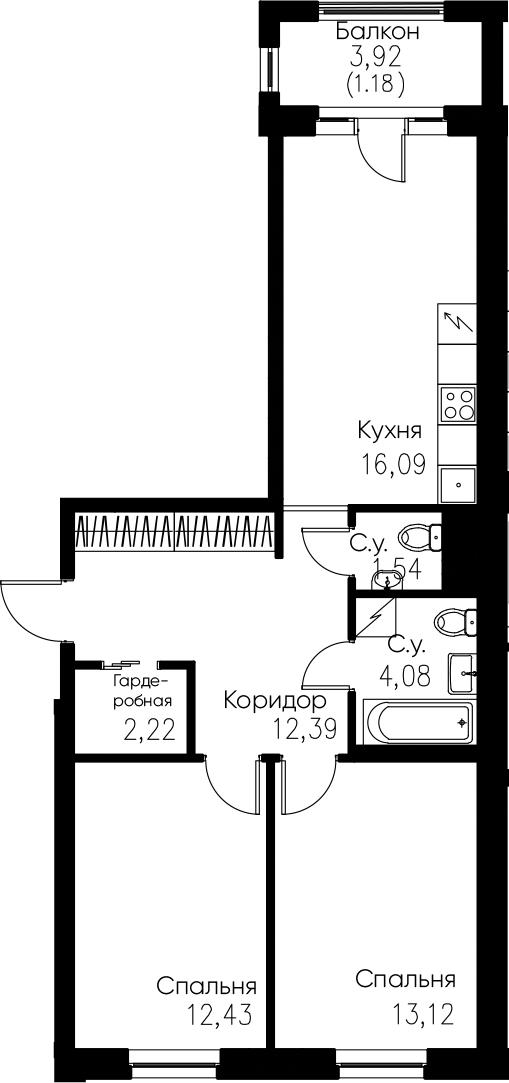 3Е-комнатная, 63.05 м²– 2