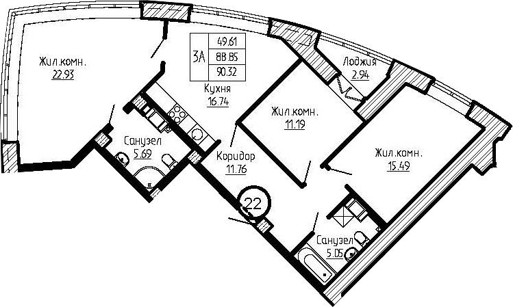 4-к.кв (евро), 91.79 м²