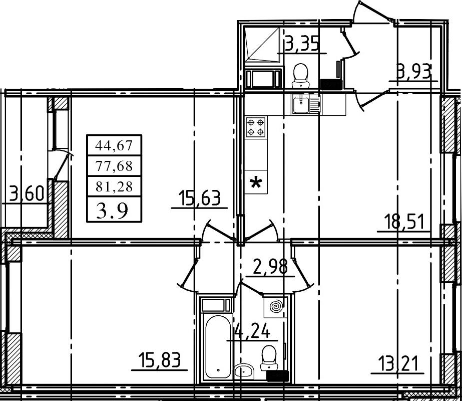 4Е-комнатная, 77.68 м²– 2