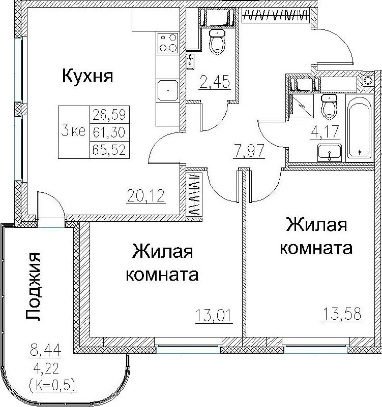 3Е-комнатная, 65.52 м²– 2