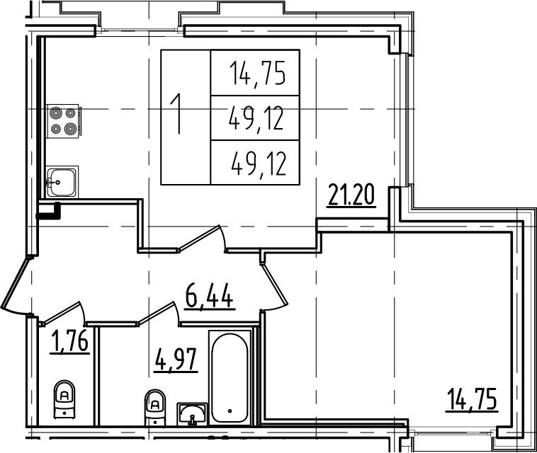2Е-к.кв, 49.12 м², 3 этаж