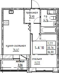 2-к.кв (евро), 37.78 м²