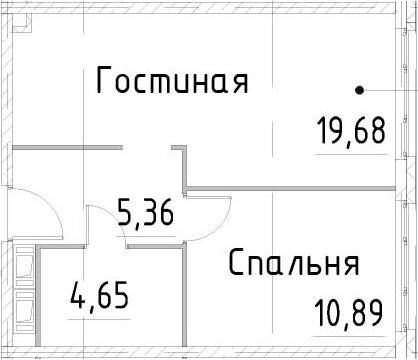 2Е-к.кв, 40.57 м², 16 этаж