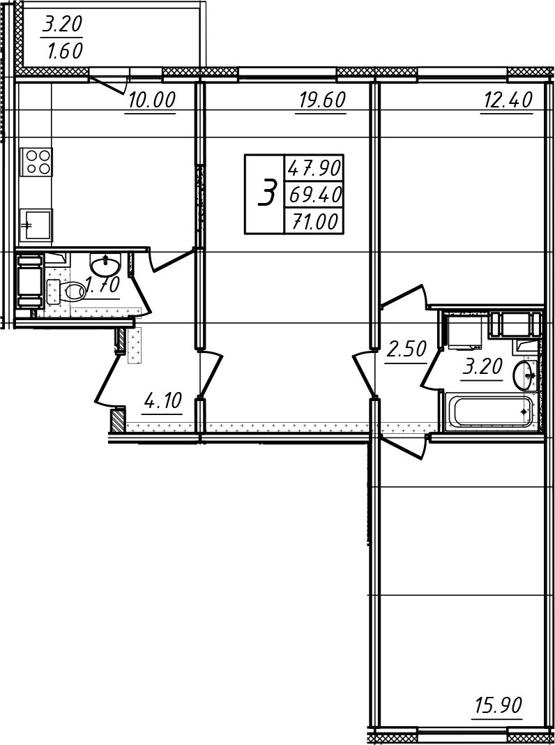 3-к.кв, 71 м²