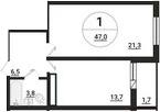 1-к.кв, 48.7 м²