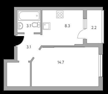 1-комнатная, 34.6 м²– 2