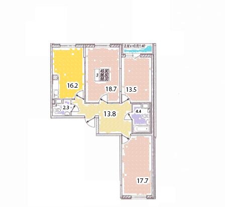 3-к.кв, 89.4 м²