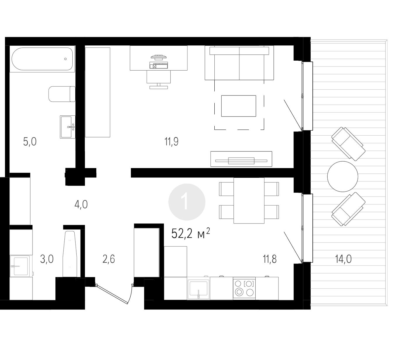 1-к.кв, 52.2 м²